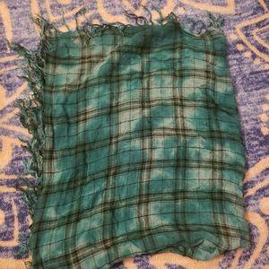 5/$10 Mudd Plaid Vintage Look Square Scarf Fringe